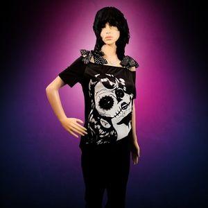 Tops - Sugar Skull Bow Top Rockabilly T-Shirt